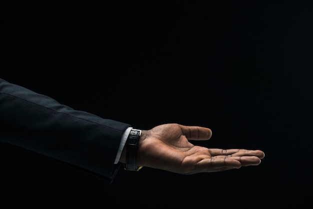 Hand of black businessman