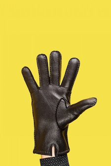 Hand in black leather gloves