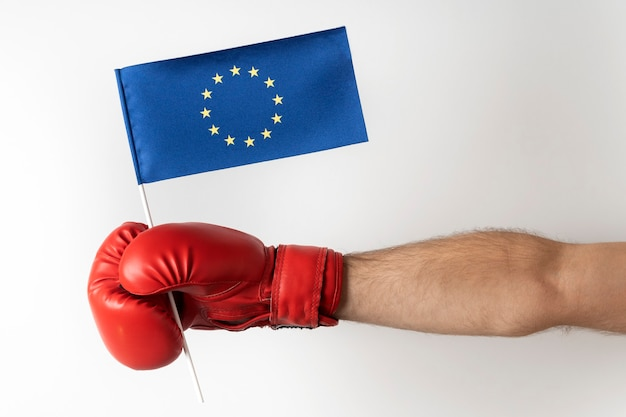 Hand in boxing glove holds the eu flag