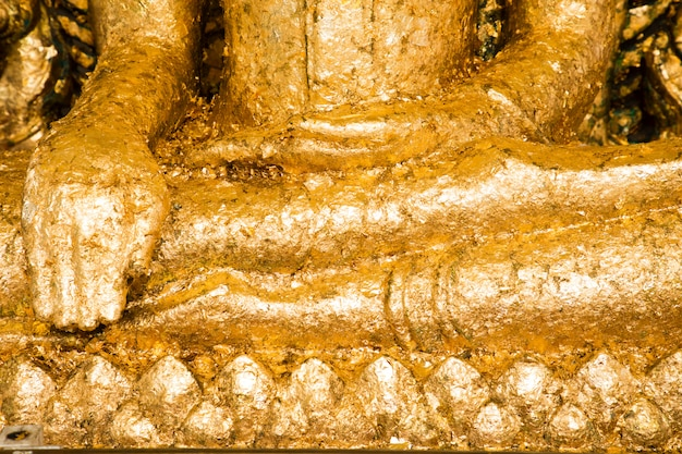 Hand of buddha contain gold leaf in thai temple