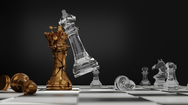 Hand of businessman moving chess figure in competition success play. gold and glass chess battle, chess victory, 3d illustration