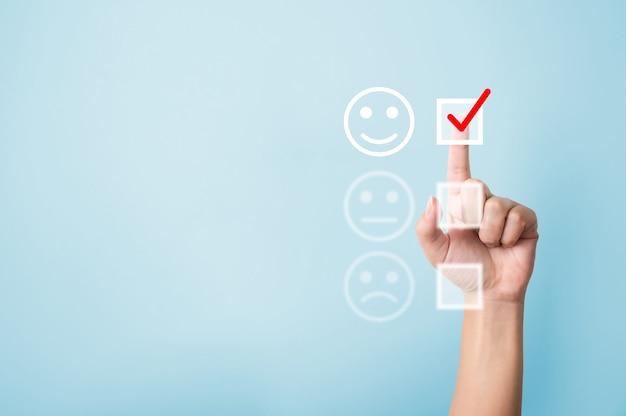 Рука выберите рейтинг баллов счастливый значок