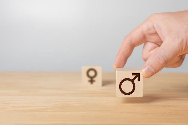 手は女性の性別が付いている木製の立方体を選択します男性の性別の記号が付いている立方体に署名します