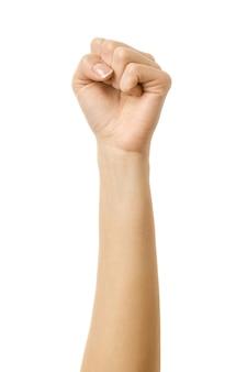 Рука сжала кулак. жест рукой женщины изолированный на белизне