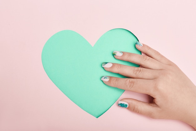 Hand cosmetics nails coloring and care, professional manicure and care product