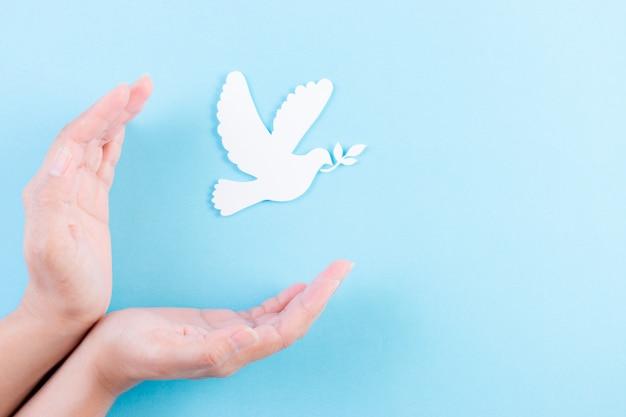 Рука прикрывает белого голубя в воздухе. белый голубь из бумаги, вырезанный на день мира.