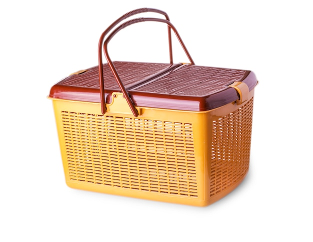 Hand craft plastic basket isolated