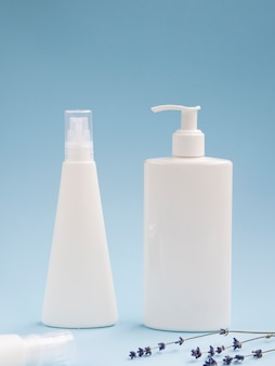 Hand cream bottles mock-up next to lavender