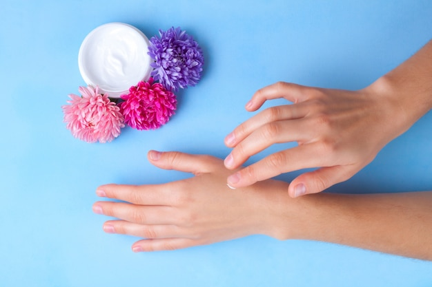 Hand cream. skin and hand care. moisturizing and eliminating the dryness of the hands skin