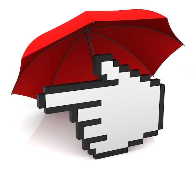 Курсор в виде руки с красным зонтиком. 3d-рендеринг