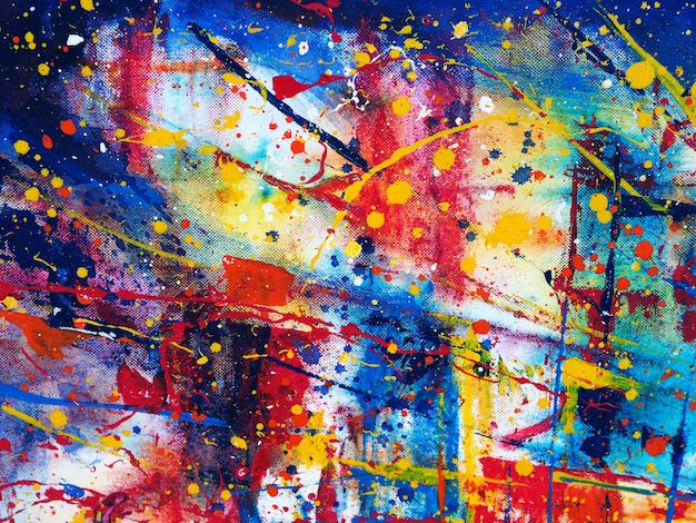 Hand draw abstract colorful watercolor painting