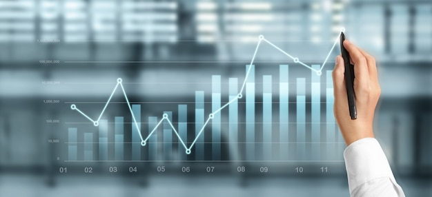Hand draw chart, growth graph progress of business analyzing financial and investment data, business planning strategy