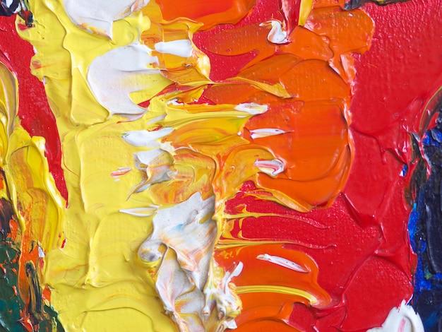 手描くカラフルな油絵の具の抽象的な背景とテクスチャ。