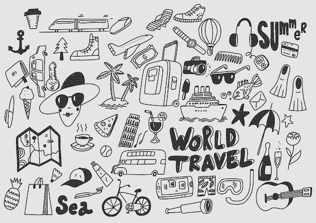 Рука рисовать каракули символы путешествия туризм и путешествия