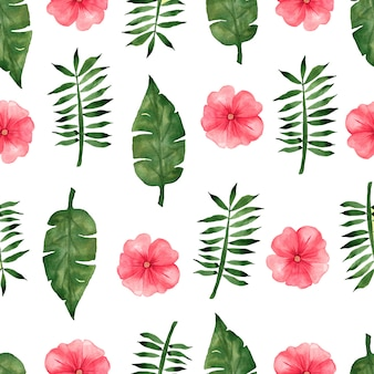 Hand draw tropical red flowers and green leaves pattern background.