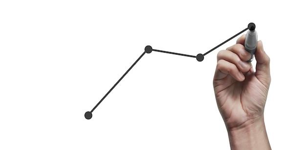 Рука рисует диаграмму, график запаса роста