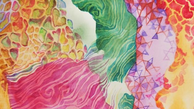 손 그리기 밝은 야생 아프리카 스타일 배경입니다. 화려한 수채화 붉은 보헤미안 사파리 패션 섬유 인쇄. 동물적인 부족 얼룩말 기린 장식 그림입니다.