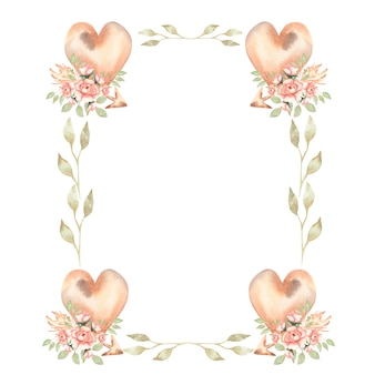 Вручите рисуя изолированную иллюстрацию венков акварели boho флористическую с листьями, цветками пиона, стрелкой, пер, ветвями, сердцами, цветком. богемный венок в винтажном стиле.