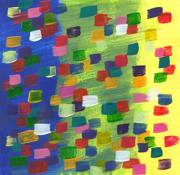 Ручной рисунок, сделанный вручную с цветными акриловыми мазками краски ярких цветов фона