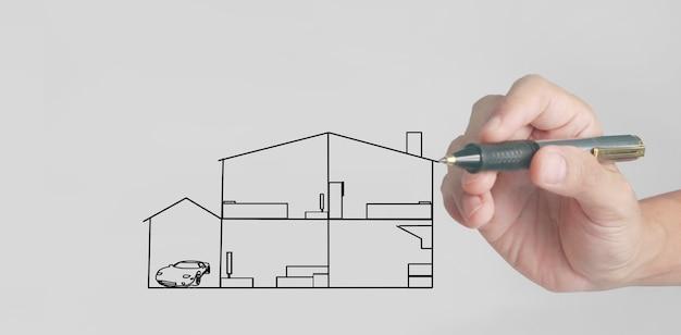 Рука рисунок минималистский дом