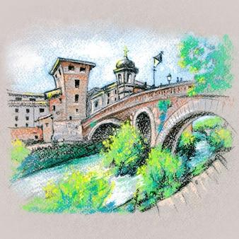 Ручной рисунок пастелью, остров тибр или изола тиберина с понте фабрицио