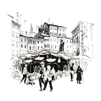 Hand drawing sketch, roman square campo de fiori with daily market and the monument to giordano bruno, rome, italy. picture made liners