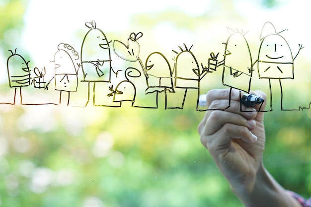 Hand drawing sketches of happy family on the glass green bokeh background.