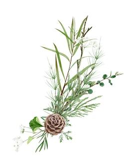 Рука рисунок акварель лесной букет полевых цветов, листьев и ветвей. иллюстрация, изолированные на белом. идеально подходит для летнего свадебного приглашения и логотипа.