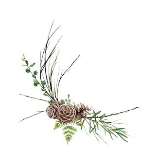 手描きの水彩画の森の花束、野生の花、葉、枝。の図は、白で隔離されます。夏の結婚式の招待状とロゴに最適です。
