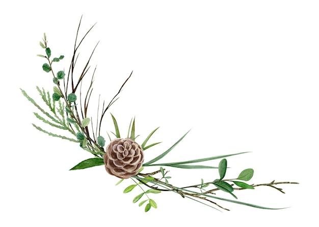 野生の花、葉、枝の水彩画の森の花束を手描き。白で隔離の図。夏の結婚式の招待状やロゴに最適です。