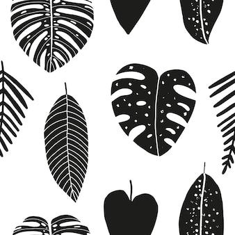 Ручной обращается абстрактный бесшовный паттерн с тропическими листьями