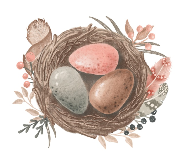 분홍색, 갈색, 회색 계란이 있는 손으로 그린 예술 새 둥지, 부활절 디자인