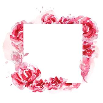 白で隔離の花と植物の要素で作られた手描きの芸術的な水彩画フレーム。