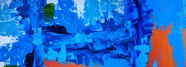 Hand drawn blue painting abstract art panorama background colors texture design illustration