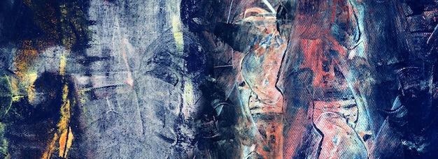 Ручной обращается синяя картина абстрактное искусство панорама фон цвета текстуры дизайн иллюстрация
