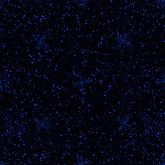 Ручной обращается синий снежинки рождество бесшовные модели. тонкие хлопья летающего снега на черном фоне. очаровательная снежная накладка, нарисованная от руки мелом. красивое украшение праздничного сезона.