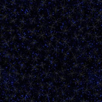 손으로 그린된 파란색 눈송이 크리스마스 완벽 한 패턴입니다. 검은 배경에 미묘한 비행 눈 조각입니다. 매력적인 분필 손으로 그린 눈 오버레이. 가치있는 휴가 시즌 장식.
