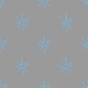 Ручной обращается синий снежинки рождество бесшовные модели. тонкие хлопья летающего снега на сером фоне. стильный снежный покров, нарисованный от руки мелом. уникальное украшение праздничного сезона.