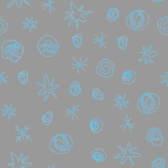 손으로 그린된 파란색 눈송이 크리스마스 완벽 한 패턴입니다. 회색 바탕에 미묘한 비행 눈 조각입니다. 아름다운 분필로 손으로 그린 눈 오버레이. 놀라운 휴가 시즌 장식.