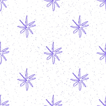 Hand drawn blue snowflakes christmas seamless pattern. subtle flying snow flakes on white background. creative chalk handdrawn snow overlay. extraordinary holiday season decoration.