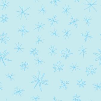 손으로 그린된 파란색 눈송이 크리스마스 원활한 패턴