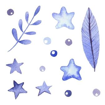手描きの青い水彩画の枝と星と葉。装飾用の明るい花と葉のセット