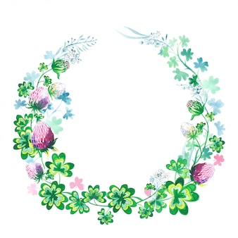Hand drawn botanical watercolor round frame with clover flowers, stems and leaves