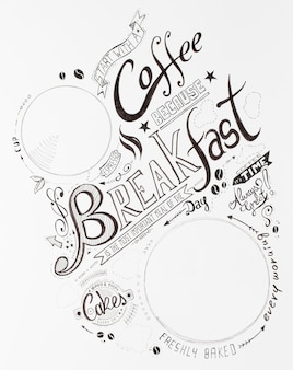 Hand drawn breakfast lettering typography