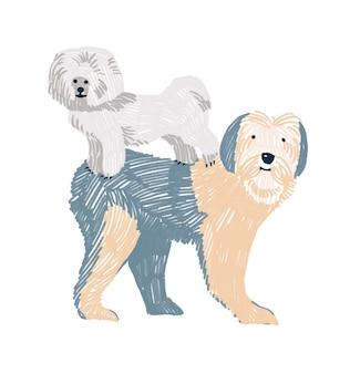 白で隔離の2匹の犬がお互いの上に立っている手描きの幼稚なイラスト