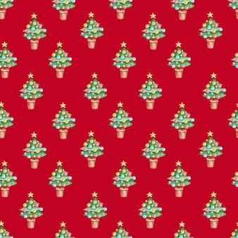 赤い背景に水彩のクリスマスツリーと手描きのクリスマスと新年のシームレスなパターン。