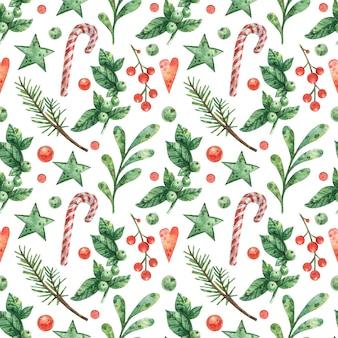新年の装飾から手描きのクリスマス背景
