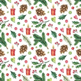 手描きのキャンドルとクリスマスの背景