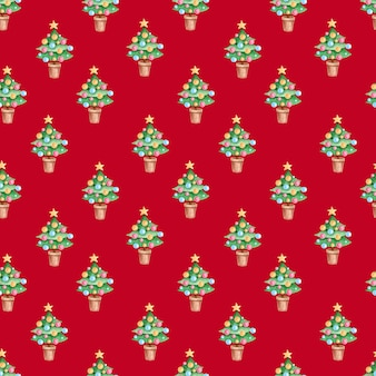 Hand drawn christmas and new year seamless pattern with watercolor christmas tree on a red background.
