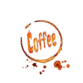 Hand drawn coffee icon with lettering coffee, coffee traces and stains isolated on white surface